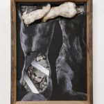 Kalliopi Lemos Boxed World no.6 Photograph and small figurine made of steel skeleton, air drying clay and Japanese paper, installed in a wooden box made with reclaimed wood from the roof of an old Georgian house, 74cm x 54cm x 20cm, 2015 / Καλλιόπη Λεμού Εγκιβωτισμένος Κόσμος (6) Φωτογραφία, Γλυπτό με σκελετό από ατσάλι, Πηλός και Iαπωνικό χαρτί, Ανακυκλωμένο ξύλο από σκεπή παλαιού Γεωργιανού σπιτιού, 74 x 54 x 20 εκ, 2015