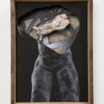 Kalliopi Lemos Boxed World no.9 Photograph and small figurine made of steel skeleton, air drying clay and Japanese paper, installed in a wooden box made with reclaimed wood from the roof of an old Georgian house, 74cm x 54cm x 20cm, 2015 / Καλλιόπη Λεμού Εγκιβωτισμένος Κόσμος (9) Φωτογραφία, Γλυπτό με σκελετό από ατσάλι, Πηλός και Iαπωνικό χαρτί, Ανακυκλωμένο ξύλο από σκεπή παλαιού Γεωργιανού σπιτιού, 74 x 54 x 20 εκ, 2015