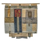 Irini Gonou Apotropaic cloth with written reeds ΙV silk fabric, cotton fabric, gauze, reed , ink  80X85 cm / Ειρήνη Γκόνου Αποτροπαϊκό ύφασμα με γραμμένα καλάμια ΙV μεταξωτό ύφασμα, βαμβακερό ύφασμα, γάζα, καλάμι, μελάνι  80X85 εκ