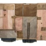 Irini Gonou Apotropaic cloth with written reeds V cotton, linen, gauze, reed, ink, paper, cotton twine  140X169 cm / Ειρήνη Γκόνου Αποτροπαϊκό ύφασμα με γραμμένα καλάμια V βαμβακερό ύφασμα, λινό, γάζα, καλάμι, μελάνι, χαρτί, βαμβακερός σπάγγος  140X169 εκ