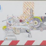 Aris Kotinopoulos  Scaffolding,  Watercolor, pen, pencil  42x60 cm 2016  cur. Areti Leopoulou / Γιάννης Κοτινόπουλος  Σκαλωσιά  Ακουαρέλα, στύλο, μολύβι,  42x60 εκ., 2016  επ. Αρετή Λεοπούλου