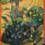 Irene Kana The garden belongs to the red birds Oil on canvas  100 X 70 cm / Ειρήνη Κανά Ο κήπος ανήκει στα κόκκινα πουλιά Λάδι σε καμβά  100 Χ 70 εκ