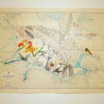 Filio Katsika Leaving with a giant 80 x 110 cm  mixed media on sea-map / Φυλλιώ Κατσίκα Φεύγοντας με ένα γίγαντα 80 x 110 εκ  μικτή τεχνική σε χάρτη θαλάσσης