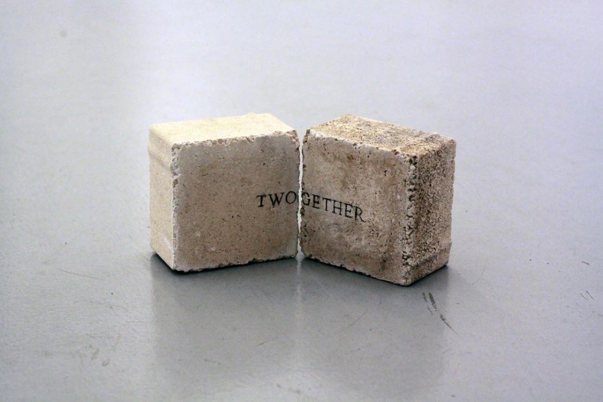 TWOGETHER, 2015, text sculpture, stone, graphite, 10 x 10 x 5 cm, item.02
