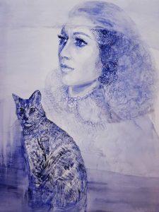 Asargiotaki_Blue cat, 100X80cm, oil on canvas