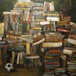Efthimis Efthimiadis Behind the books Mixed media  200 X 250 cm / Ευθύµης Ευθυµιάδης Πίσω από τα βιβλία Μικτή τεχνική  200 X 250 cm
