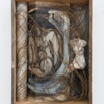 Kalliopi Lemos Boxed World no.5 Photograph and small figurine made of steel skeleton, air drying clay and Japanese paper, installed in a wooden box made with reclaimed wood from the roof of an old Georgian house, 74cm x 54cm x 20cm, 2015 / Καλλιόπη Λεμού Εγκιβωτισμένος Κόσμος (5) Φωτογραφία, Γλυπτό με σκελετό από ατσάλι, Πηλός και Iαπωνικό χαρτί, Ανακυκλωμένο ξύλο από σκεπή παλαιού Γεωργιανού σπιτιού, 74 x 54 x 20 εκ, 2015