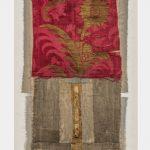Irini Gonou Scroll with red silk flower silk fabric, cotton fabric, gauze, reed, ink  29X52 cm / Ειρήνη Γκόνου Ειλητάριο με κόκκινο μεταξωτό λουλούδι μεταξωτό ύφασμα, βαμβακερό ύφασμα, γάζα, καλάμι, μελάνι  29X52 εκ