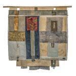 Irini Gonou Apotropaic cloth with written reeds ΙV silk fabric, cotton fabric, gauze, reed , ink  80X85 cm / Ειρήνη Γκόνου Αποτροπαϊκό ύφασμα με γραμμένα καλάμια ΙV μεταξωτό ύφασμα, βαμβακερό ύφασμα, γάζα, καλάμι, μελάνι  80X85 εκ