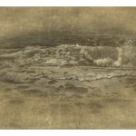 Miltos Pantelias Folds of Sea II Acrylics, pencils and paper on linen  104 X 75 cm / Μίλτος Παντελιάς Πτυχώσεις θάλασσας ΙΙ Ακρυλικά, μολύβια και χαρτί σε λινό  104 Χ 75 εκ