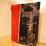 Anastasia Douka Τhe Hanged Man -a retake, 2016, bleach drawing on fabric, 250 x 200 cm