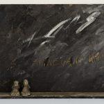 Kyrillos Sarris  Epitaph, 2001, acrylic paint on wood and cast lead sculpture, 42,5x29x7,5cm