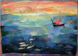 Irini Kana_Sailing in greece,50x70cm, oil on canvas